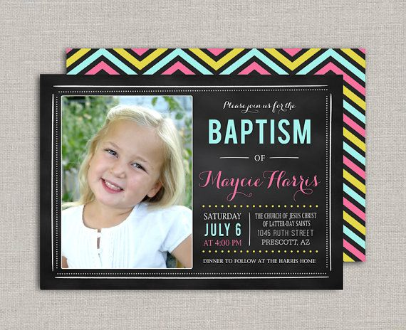 Chalkboard LDS Baptism Invitation by announcingyou on Etsy Find more ...