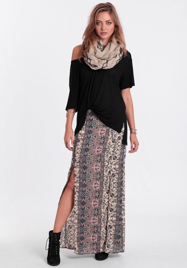 Small Town Dreams Maxi Skirt at #threadsence @threadsence