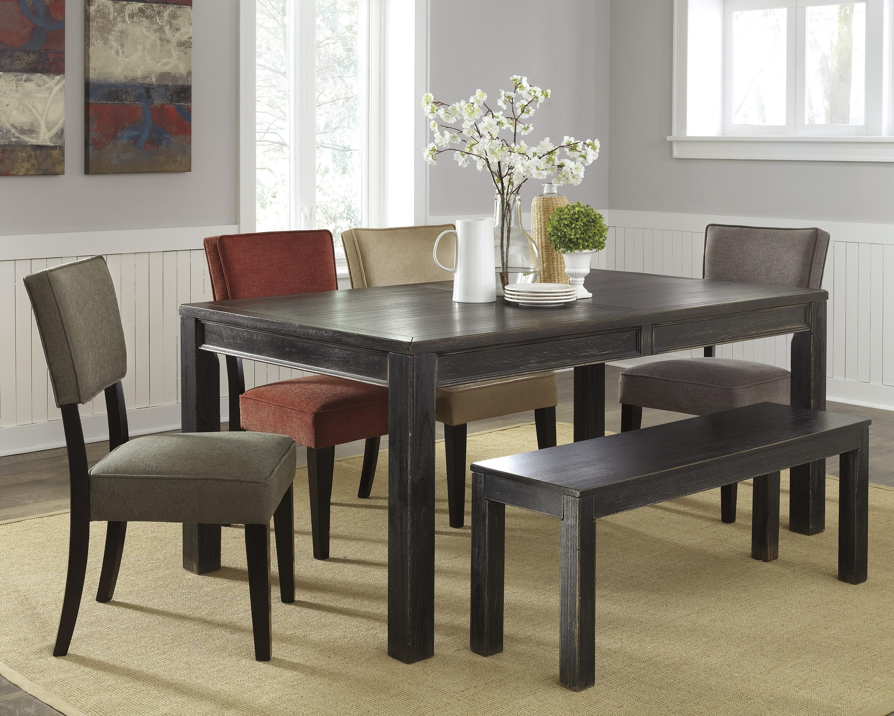 The Gavelston Dining Room Set Is All About Functionality You Have Ability To Select Upholstered Side Chairs Or Seats And A Bench