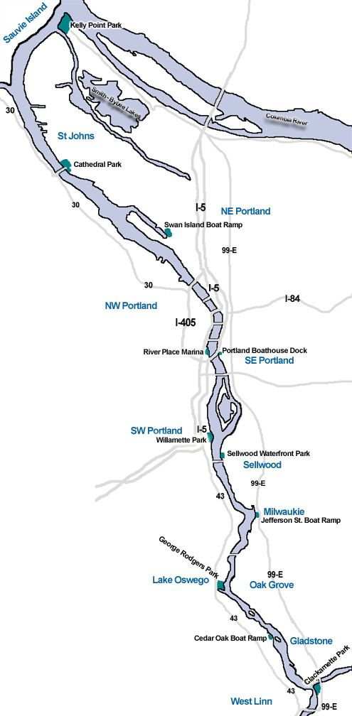 Willamette River Map For Kayaking On The Willamette River In Portland Oregon Our Map Shows You Where To Access The Willa Kayaking Oregon Map Oregon Road Trip