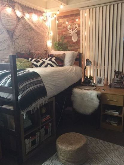 This Western Vibe Dorm Is Full Of Cute Dorm Room Ideas Dorm Room Decor Dorm Room Diy Cute Dorm Rooms
