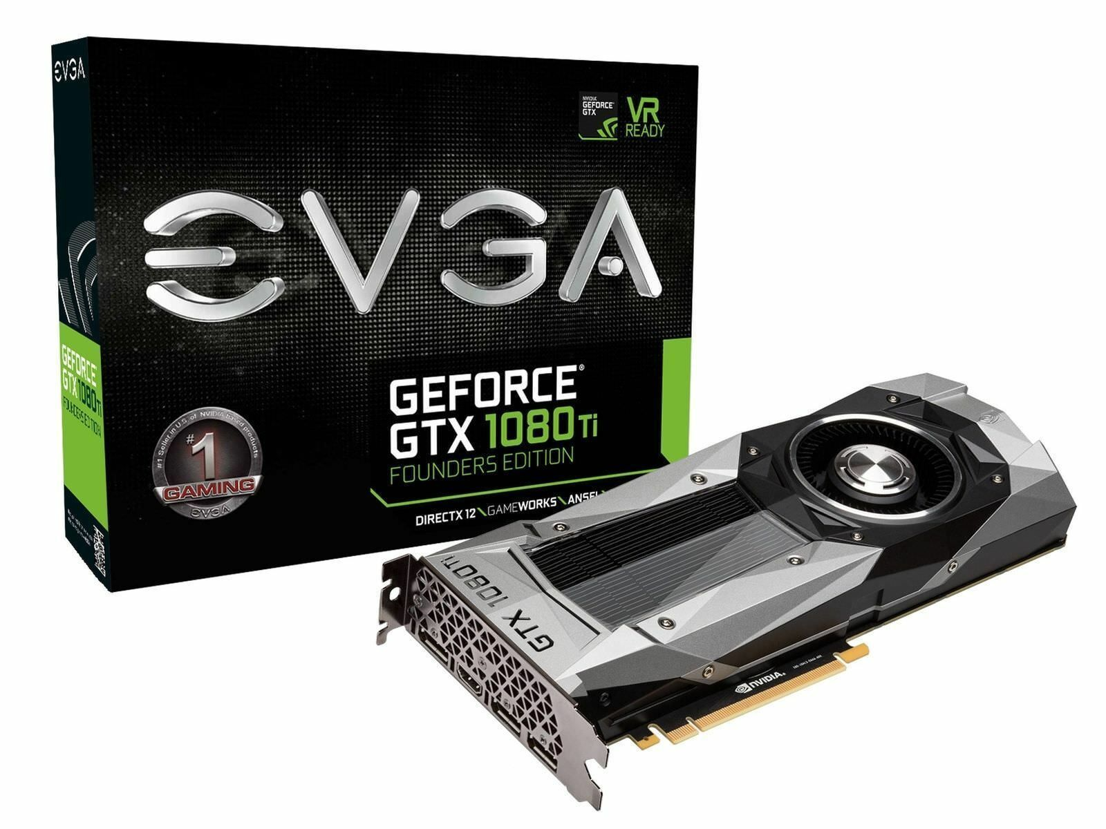 Evga Geforce Gtx 1080 Ti Founders Edition Gaming 11gb Gddr5x Graphic Cards Graphic Card Cards Computer Accessories