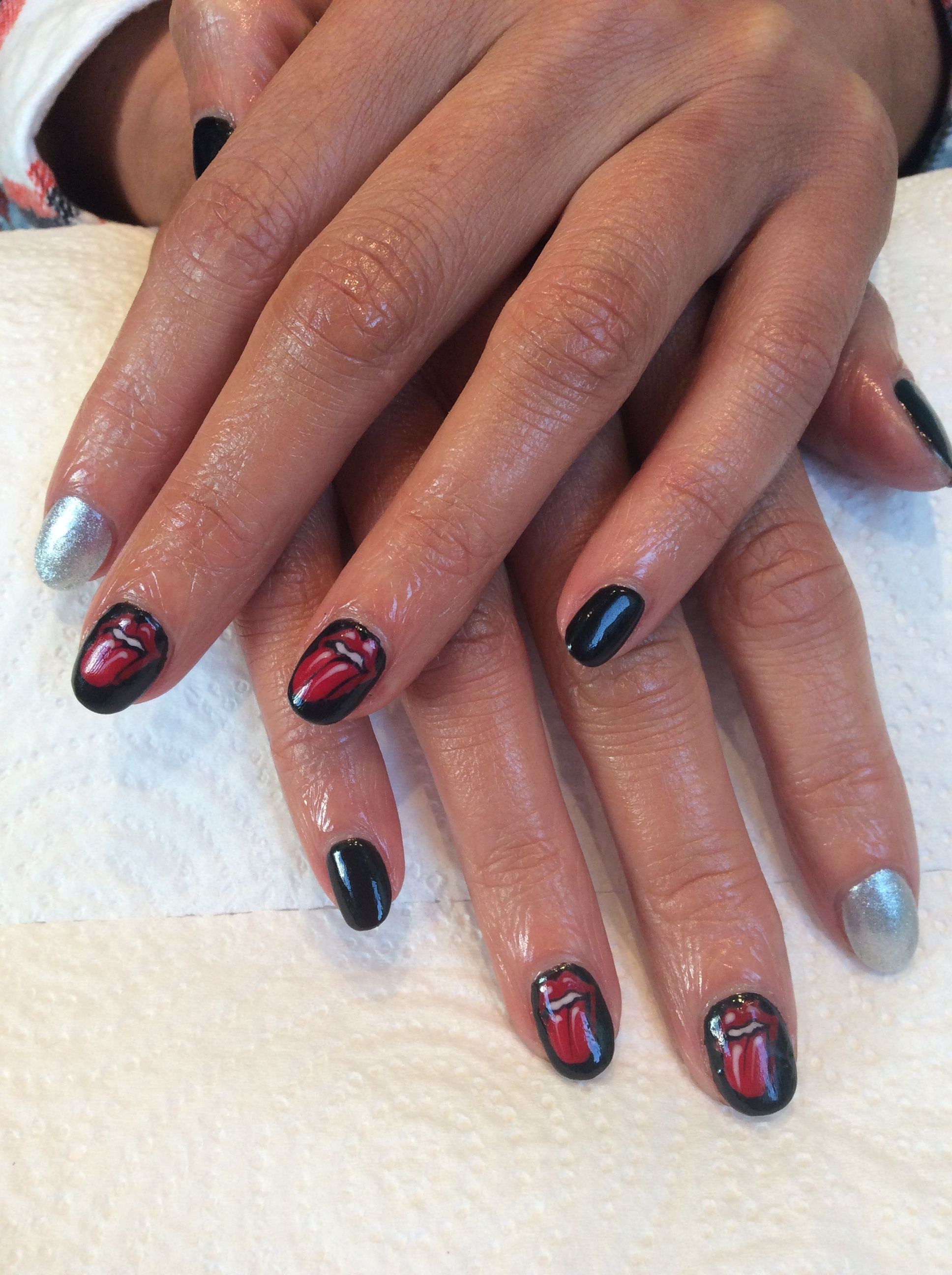 Stones Red Black Nail Art Hand Painted Nails By Meemo