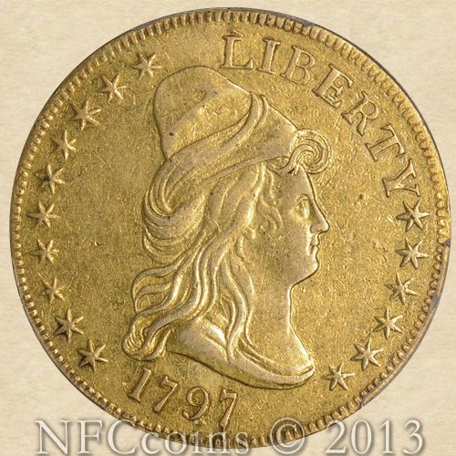 1797 Capped Bust Gold Eagle XF Details PCGS, obverse.