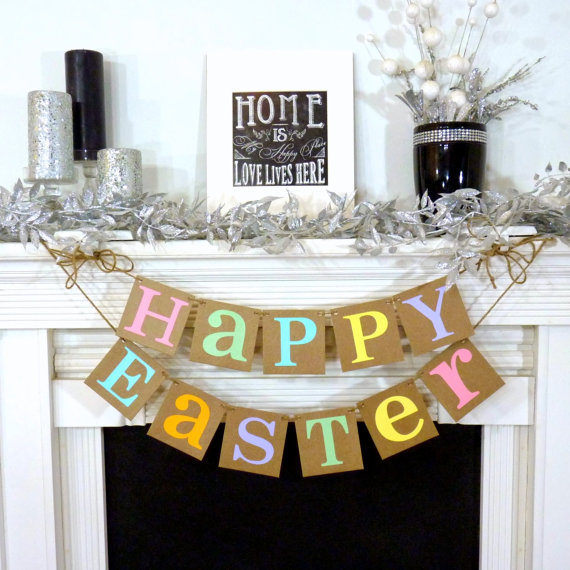 Happy Easter Decoration Banner Rustic Garland Bunny Trail