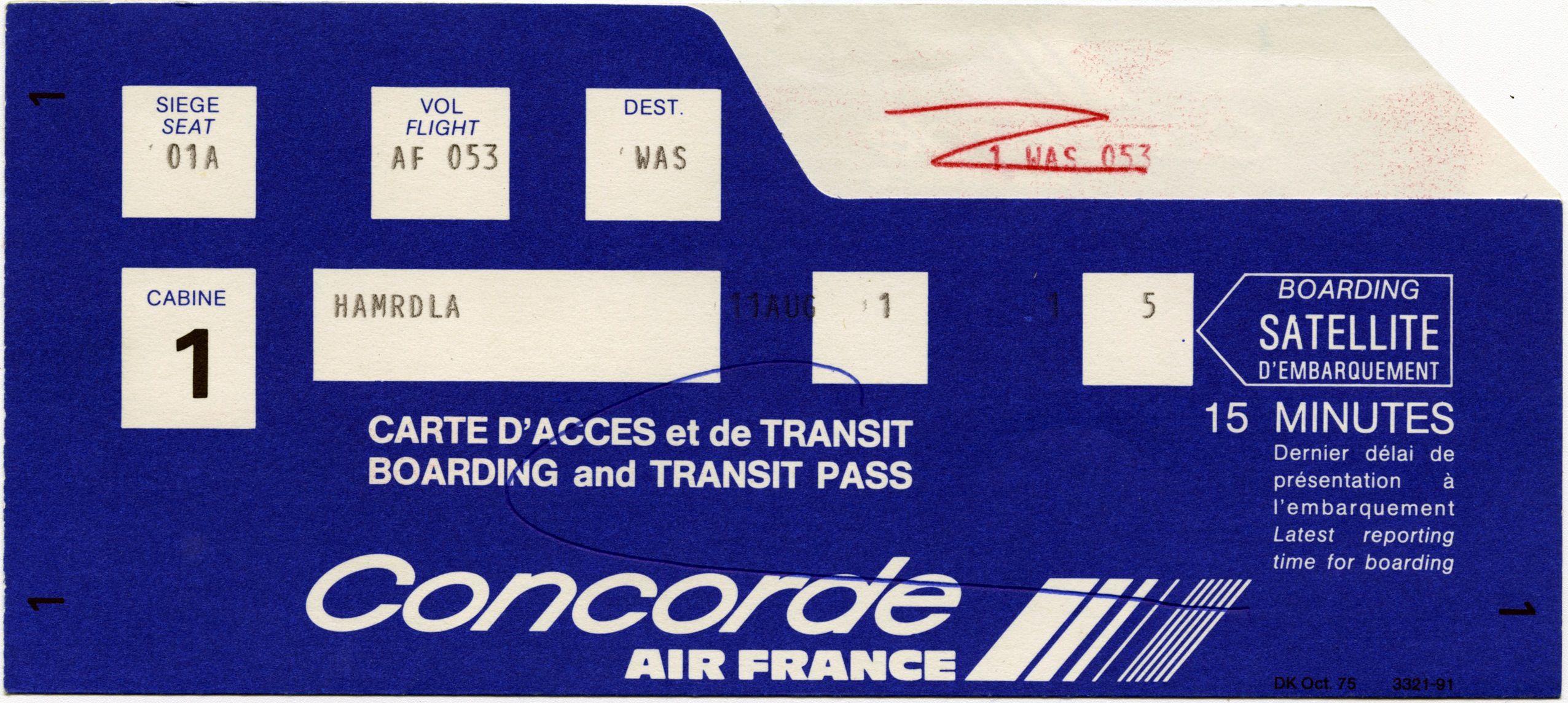 Boarding Pass Air France Concorde San Francisco International