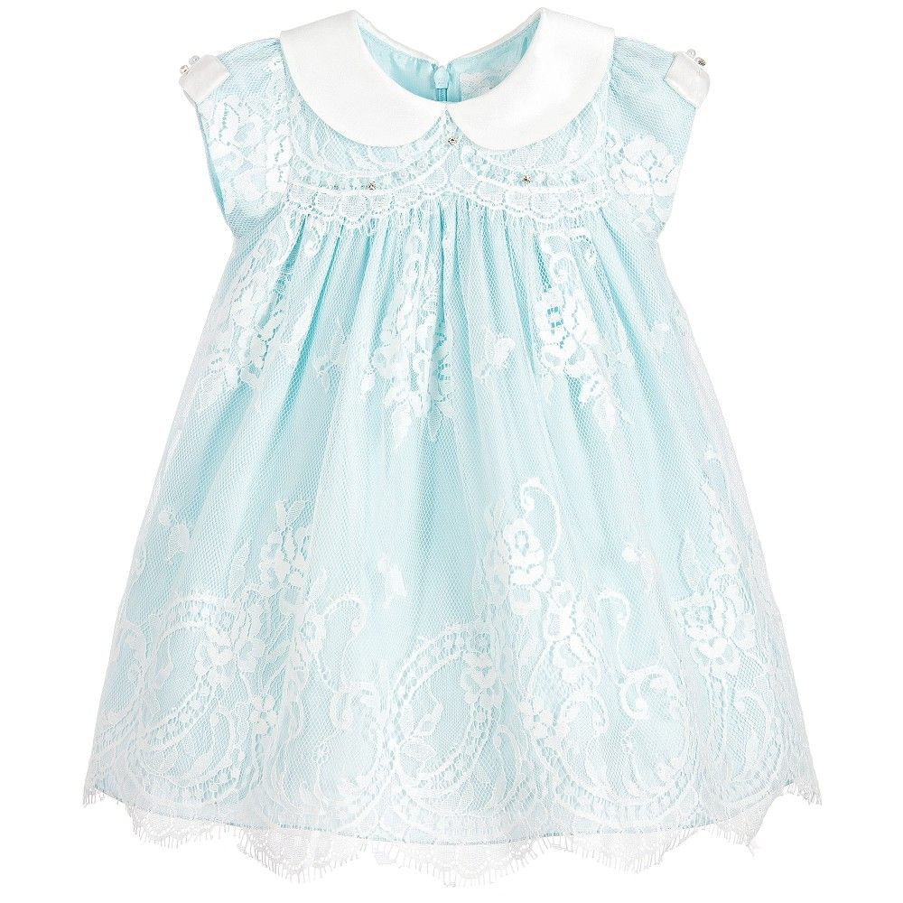 9139ab6ce3b5 Lesy Girls Blue   White Lace Dress at Childrensalon.com