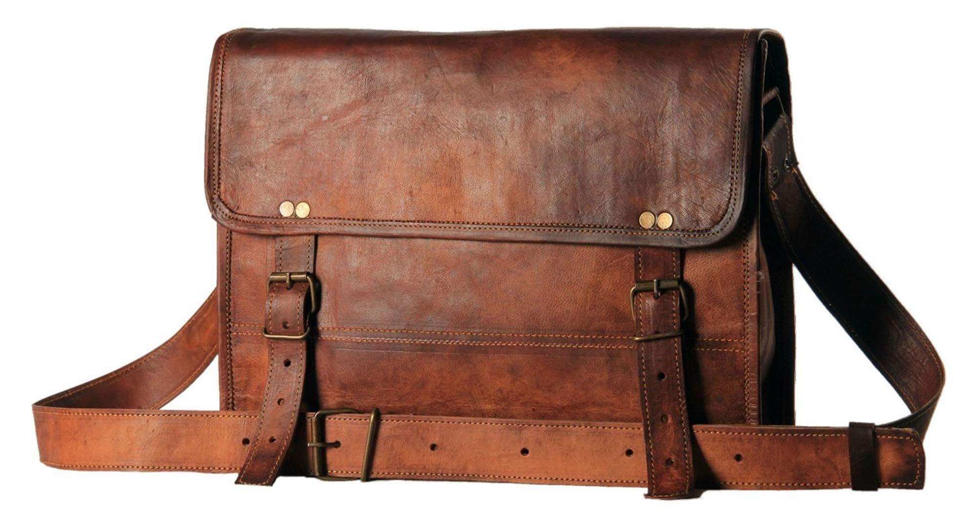 Distressed Brown Leather Messenger Bag Tablet Laptop Briefcase Crossbody Satchel