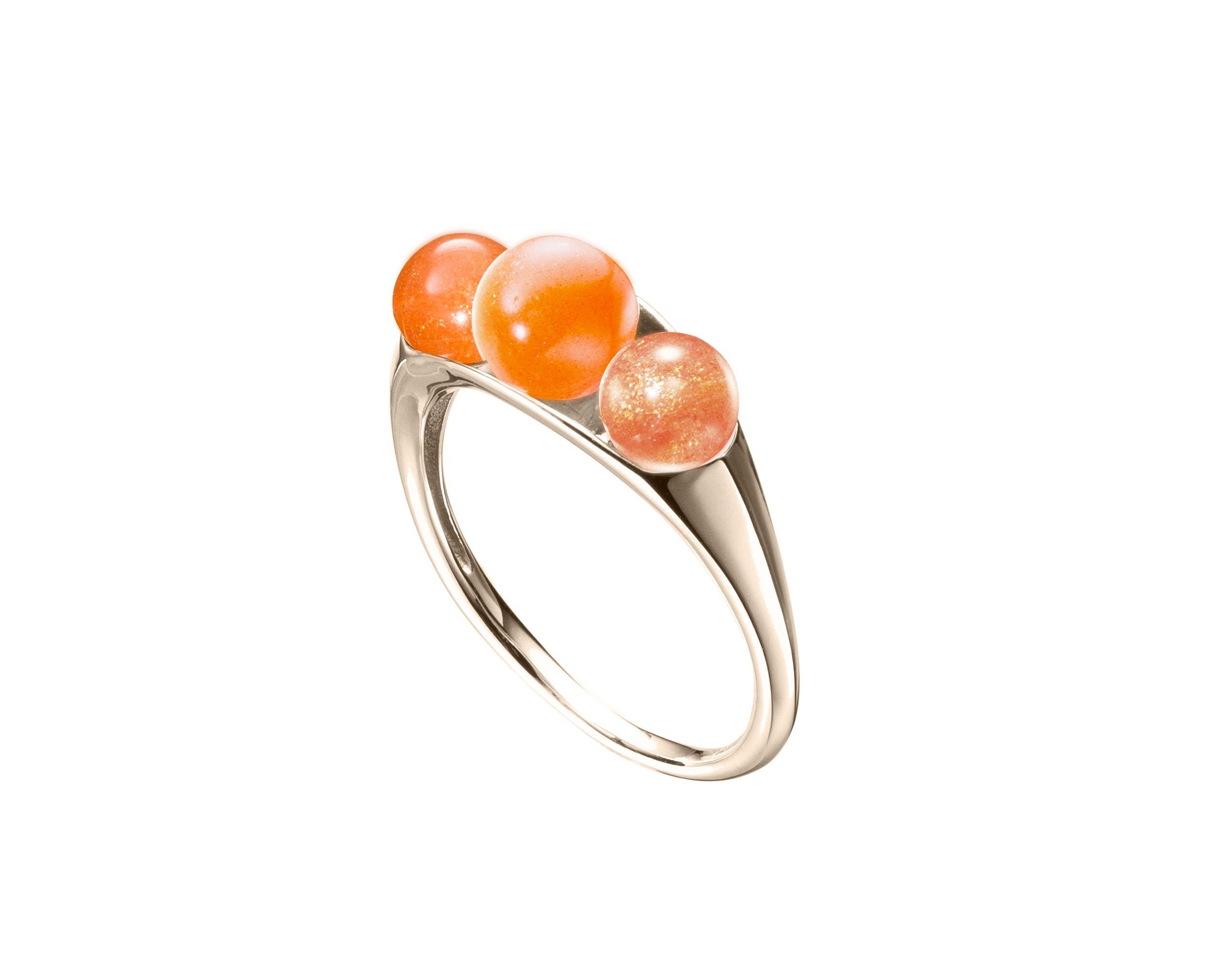 Oregon sunstone ring in 14k gold, Orange gemstone