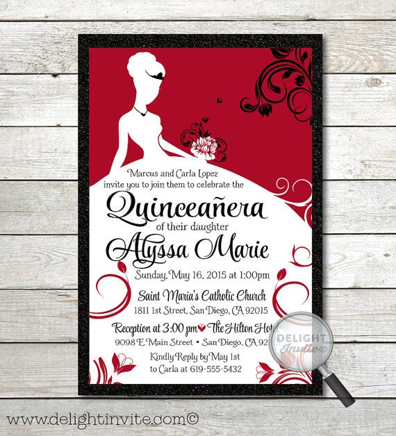 Red and Black Elegant Quinceaera Invitations elegant quince