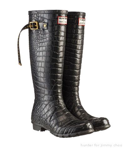 Hunter Jimmy Choo Wellington Crocodile Print Rain Boots