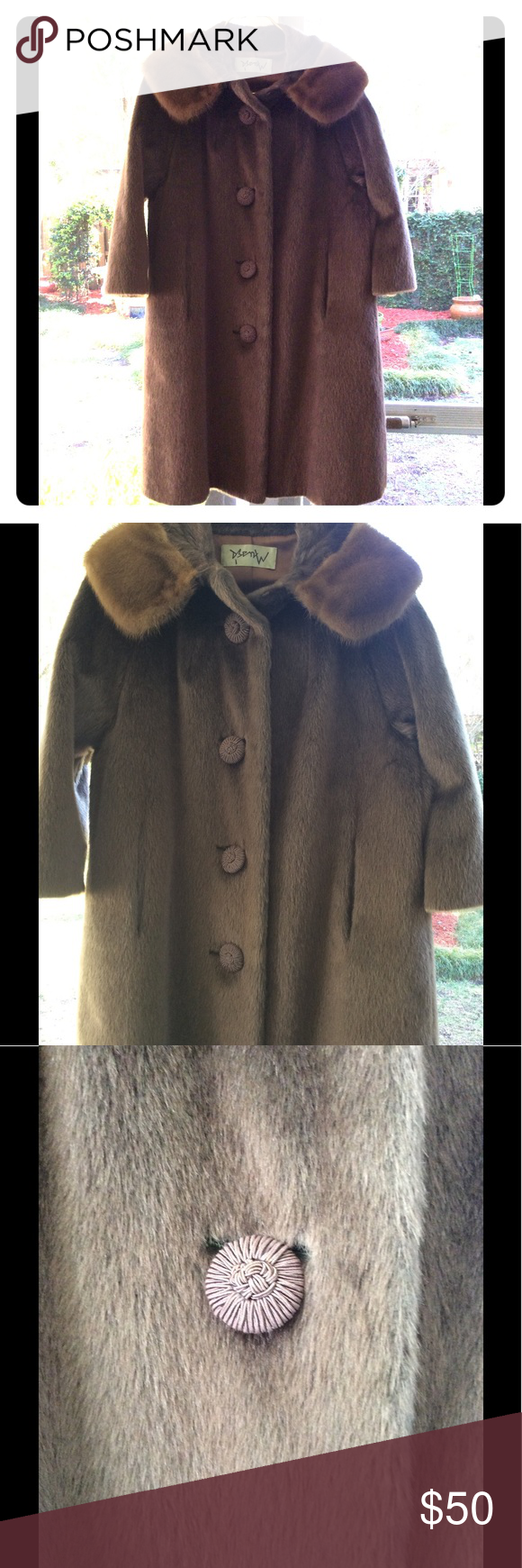 USA made 1950 Fur Coat This listing is for an American Made woman 3/4 sleeve fur coat. The collar is real fur and the body is a mixture of faux and real...typical of the brand. The coat is a true size medium but is an open style so can accommodate a larger figure. The coat is 22 inches in length and is in perfect condition. This coat deserves to be loved and worn! Vintage Jackets & Coats
