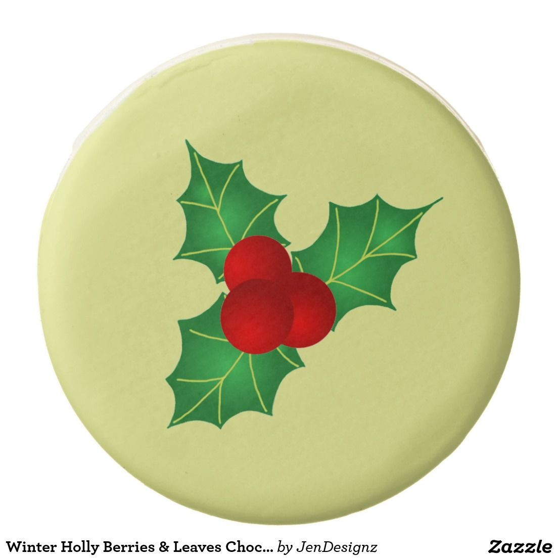 Winter Green & Red Holly Berries & Leaves Aesthetic Yellow Christmas Chocolate Cookie (Customizable Background Color) - Yummy...