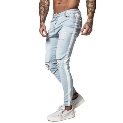 119bcb5e18f Gingtto Skinny Jeans For Men Distressed Stretch Jeans Ice Blue Ripped  Skinny Jeans Slim Fit Dropshipping Supply Tape Design zm27