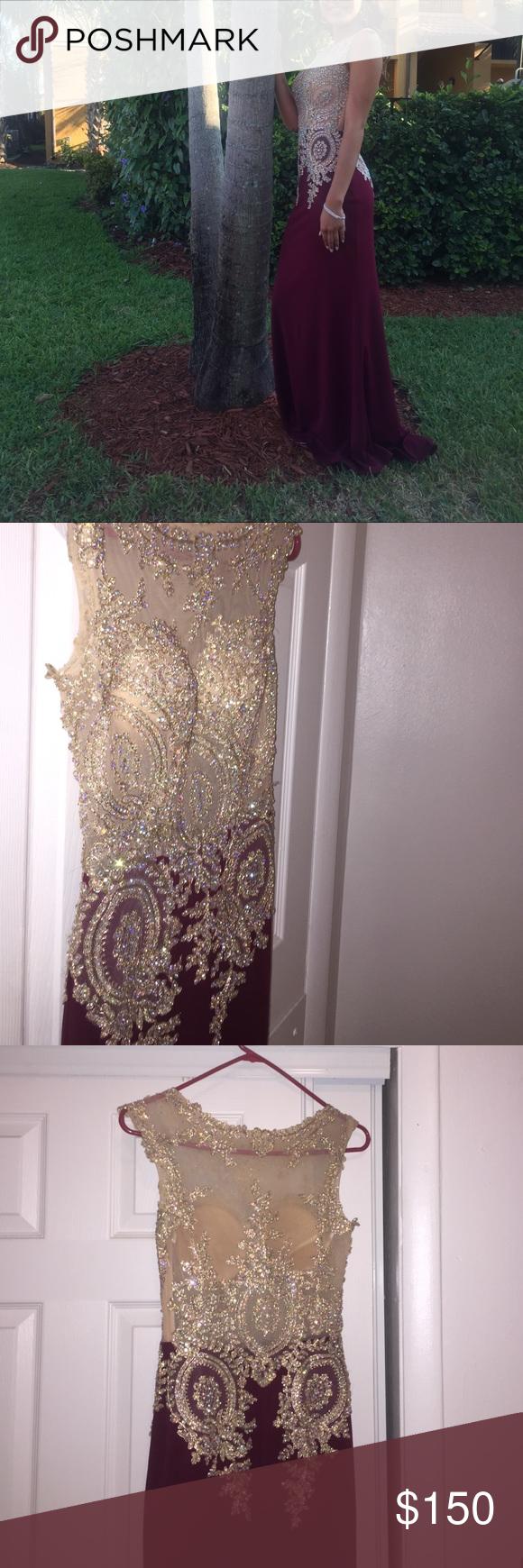 Prom dress nude top with iridescent rhinestones slim fit burgundy