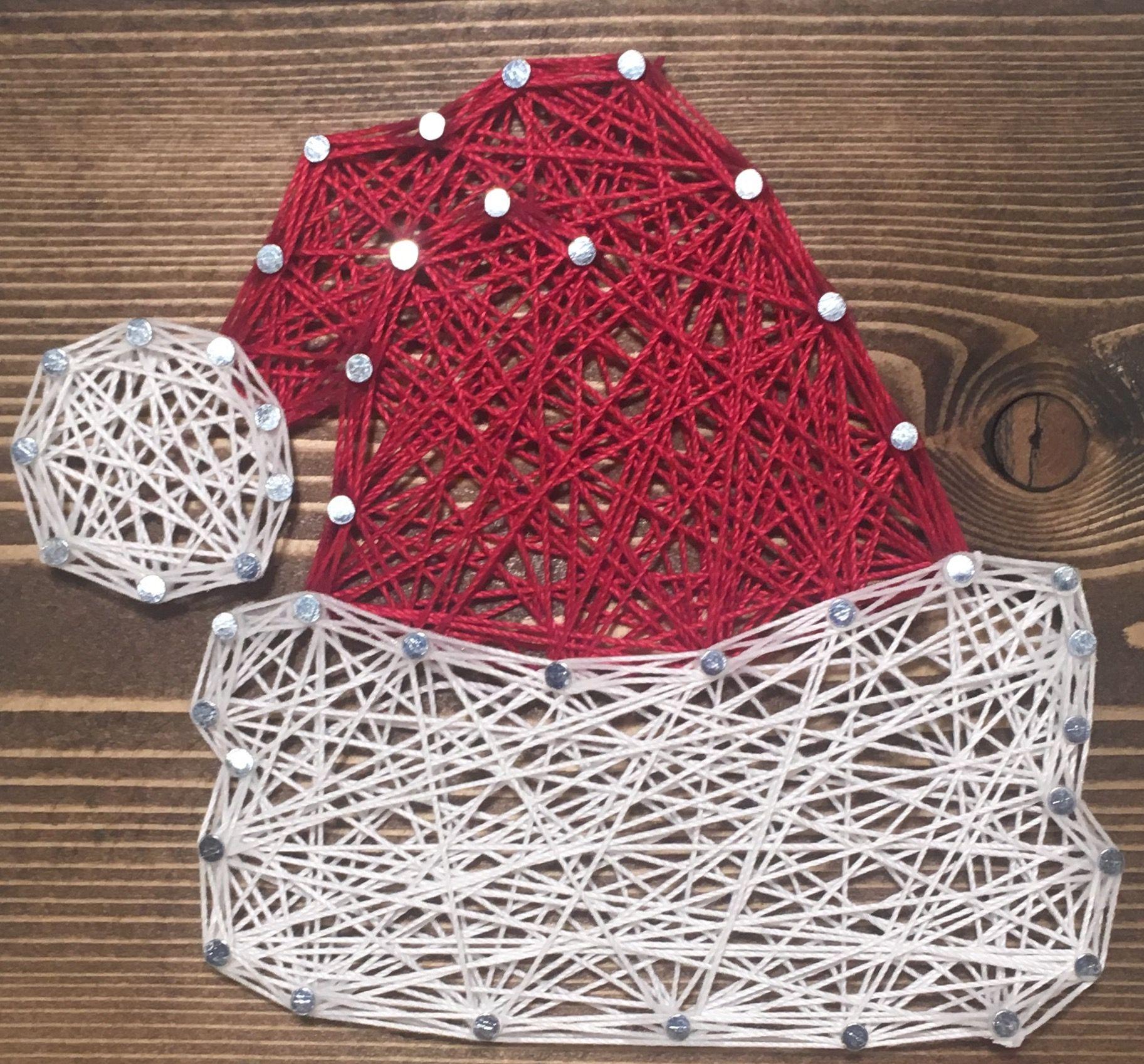 Santa Claus Hat String Art, Christmas Decor Order From Kiwistrings