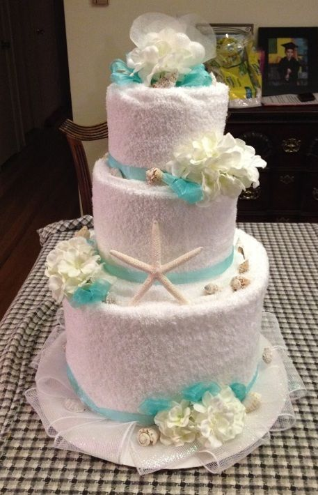 towel wedding cakes towel cake front for bridal shower theme 21113
