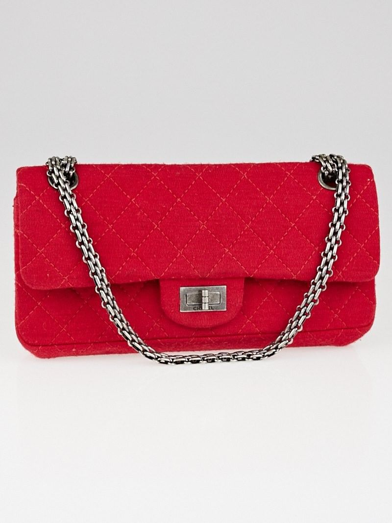 7f2ecf7f53fa Chanel Dark Pink 2.55 Quilted Jersey Reissue East/West Small Flap Bag