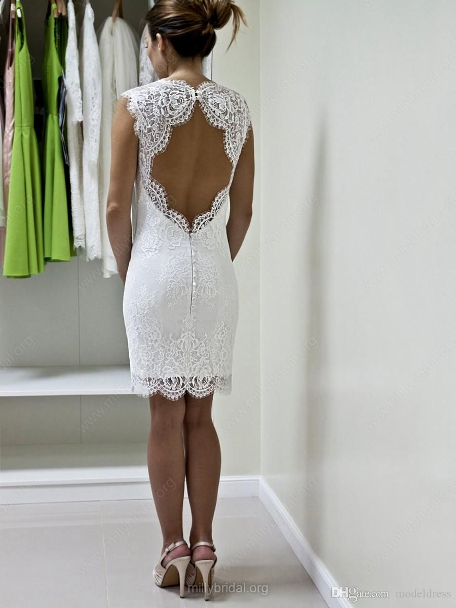 New knee length full lace wedding dresses sweetheart open back