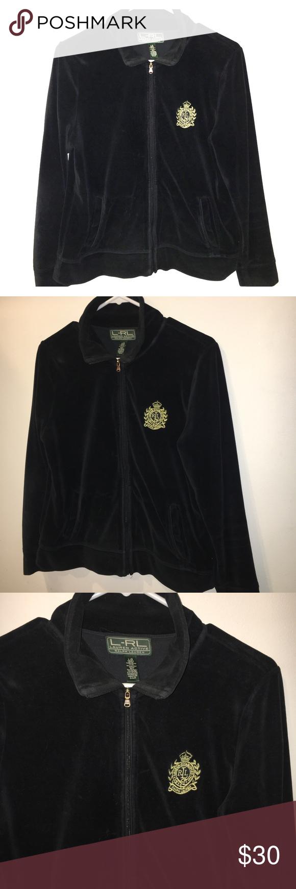 Ralph lauren velour track jacket active top crest sweat shirt
