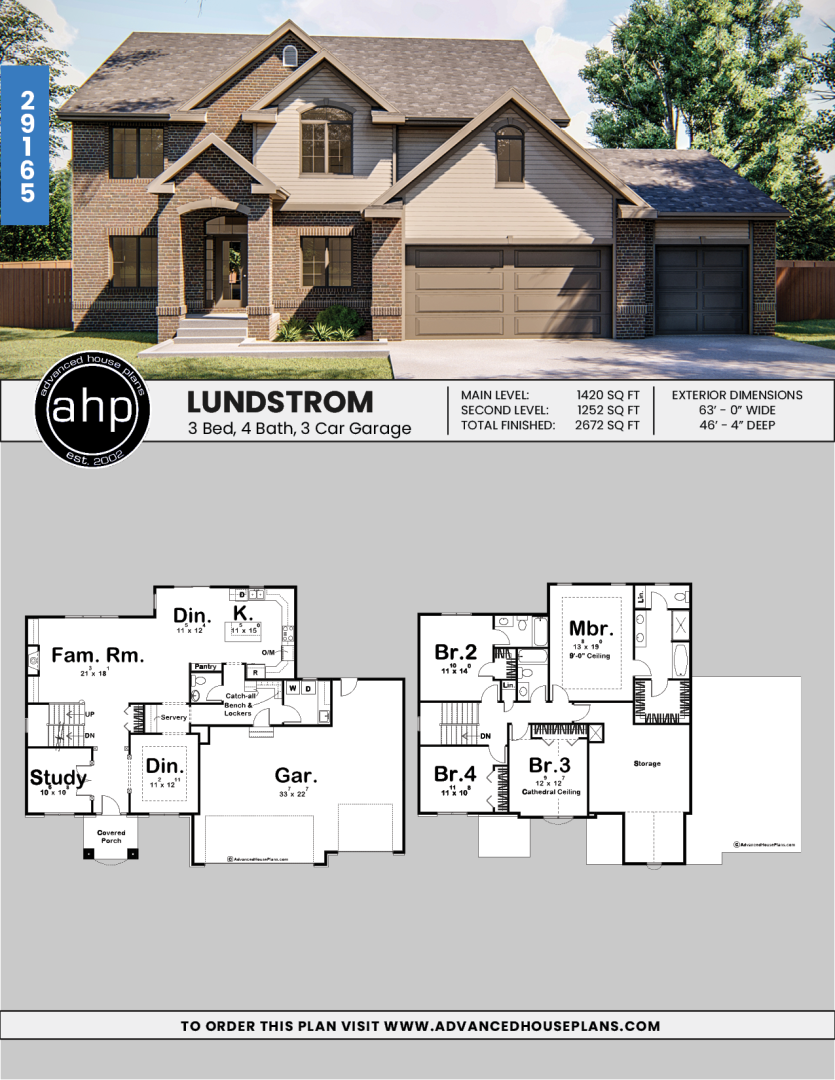 2 Story Traditional House Plan Lundstrom House Plans Floor Plans Traditional House Plan