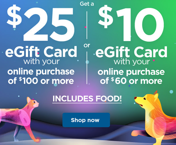 Petco Cyber Monday Free 25 Gift Card with Purchase