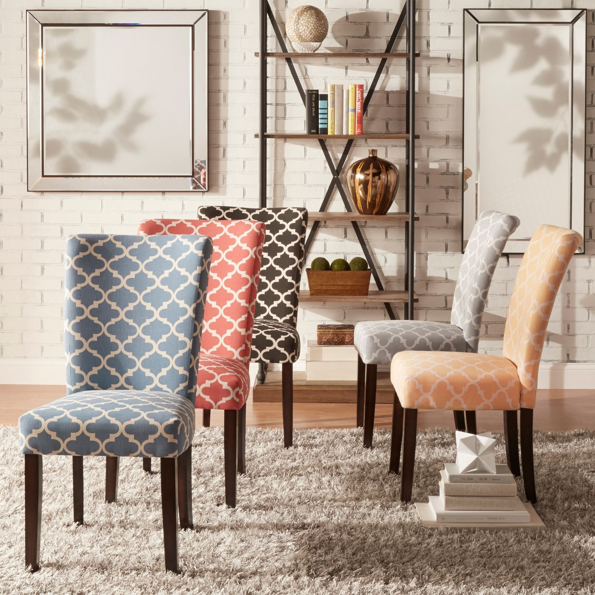 Catherine Moroccan Pattern Fabric Parsons Dining Chair (Set of 2) by  iNSPIRE Q Bold (Charcoal Black)