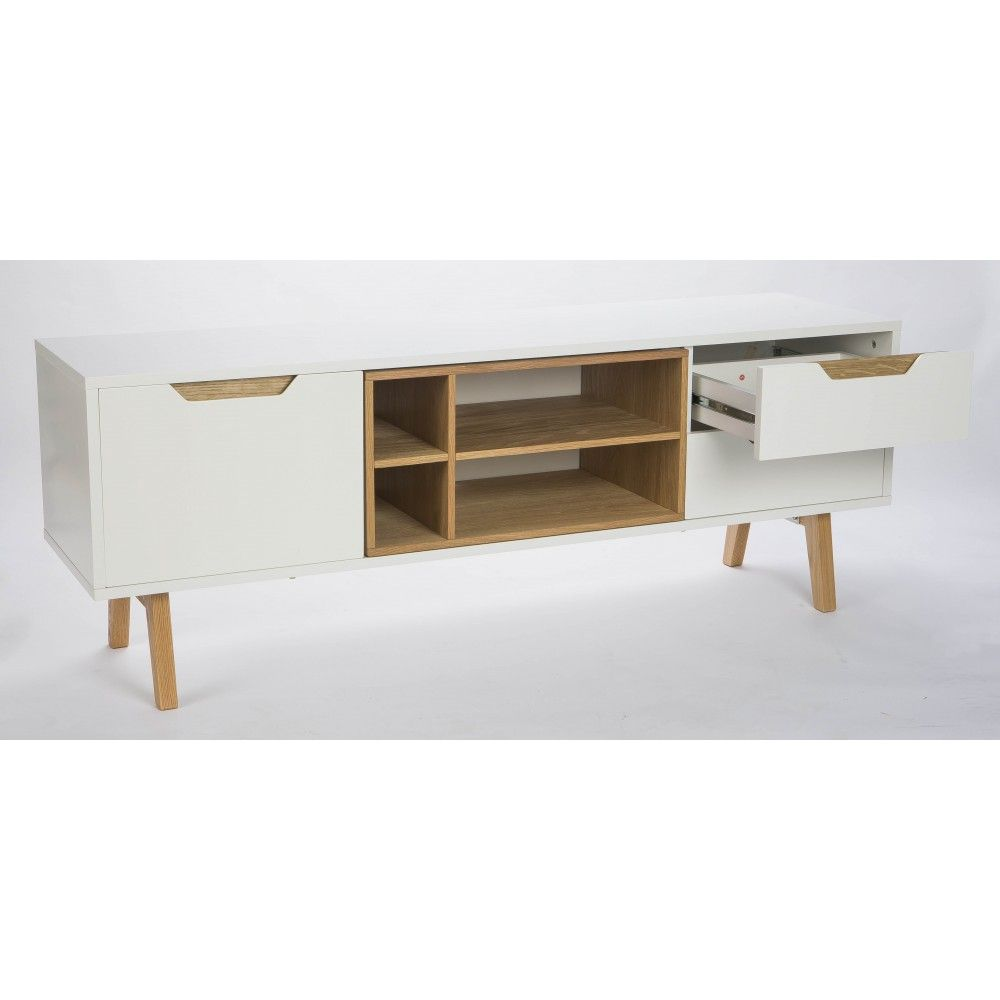 Meuble Tv Design Blanc Et Ch Ne 150cm Sleek Meuble Tv Design Tv  # Meuble Tele Chene Et Blanc Design