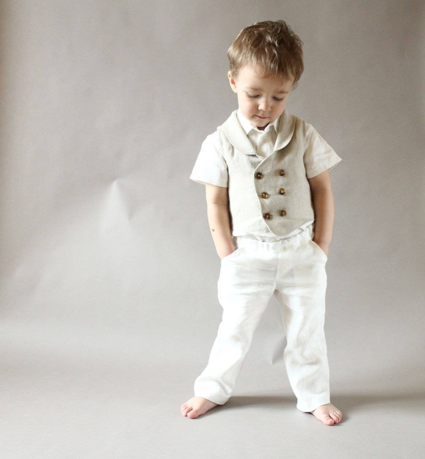 Baby Boy Pants Clothes Toddler Boys Linen 1st Birthday Outfit Ring
