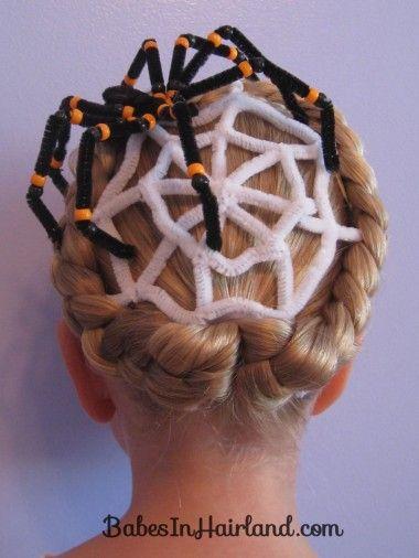 Astonishing Spiderweb Hairstyle For Halloween Halloween Hair Halloween Natural Hairstyles Runnerswayorg