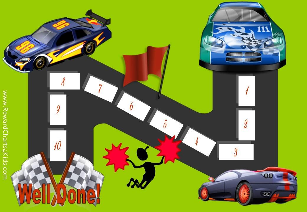 Behavior Chart with 10 steps and 3 racing cars racing to the - free printable reward charts for teachers