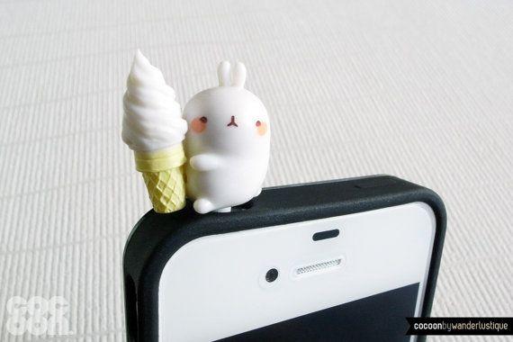 SALE30%OFF: Cute Bunny Munching Ice Cream iPhone Plug . Phone Charm . Phone Plug . Dust Plug // Hand Painted, Kawaii, Cute, Rabbit, Gift. $3.80, via Etsy.