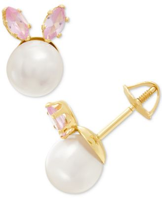 59de5c2b8 Children's Cultured Freshwater Button Pearl (5-3/4mm) & Cubic Zirconia  Bunny Stud Earrings in 14k Gold - Gold