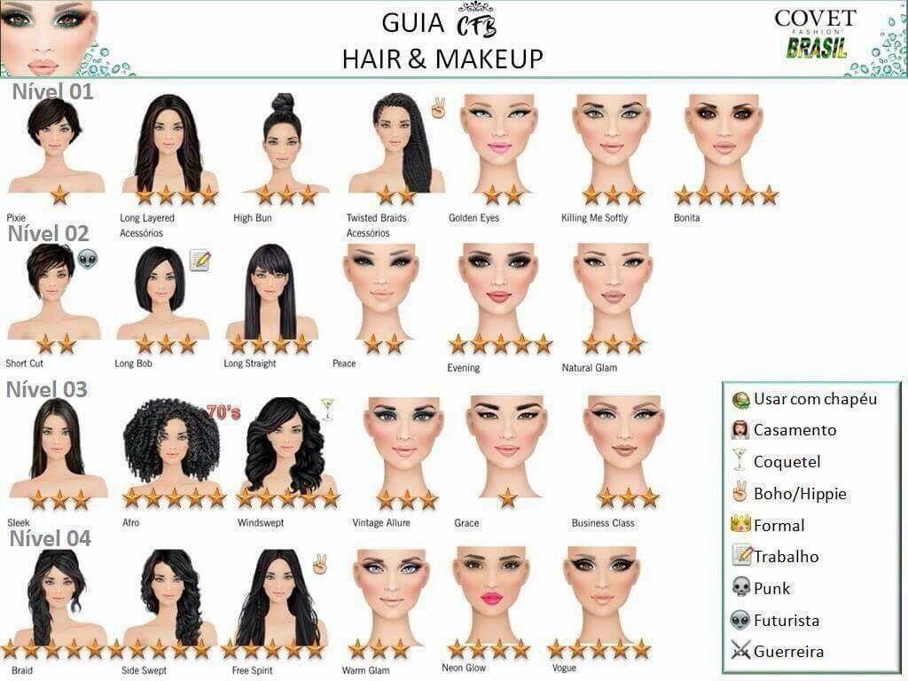 Levels 01 04 Covet Fashion Covet Fashion Games Hair Chart