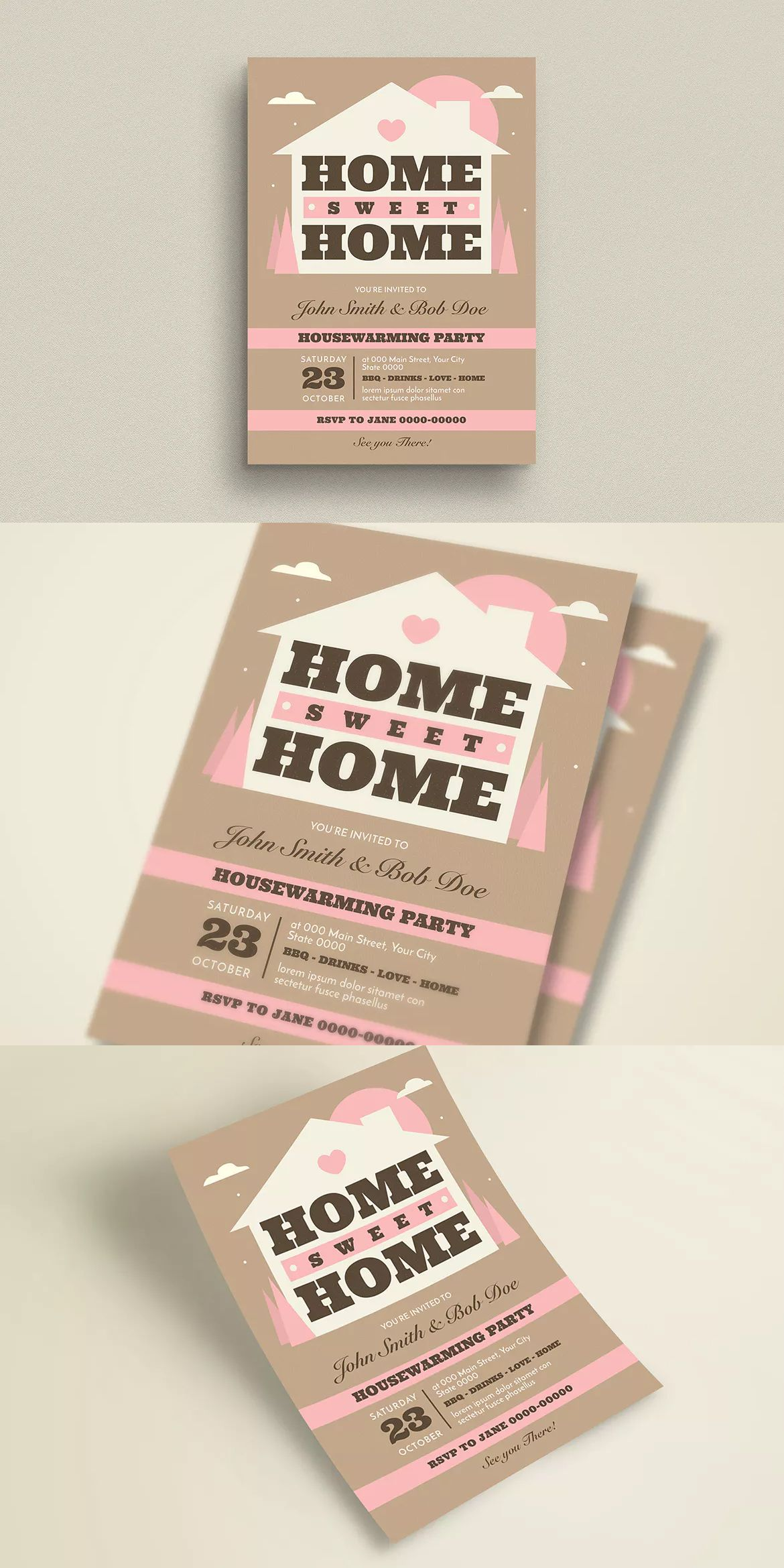 House Warming Invitation Flyer Template AI PSD
