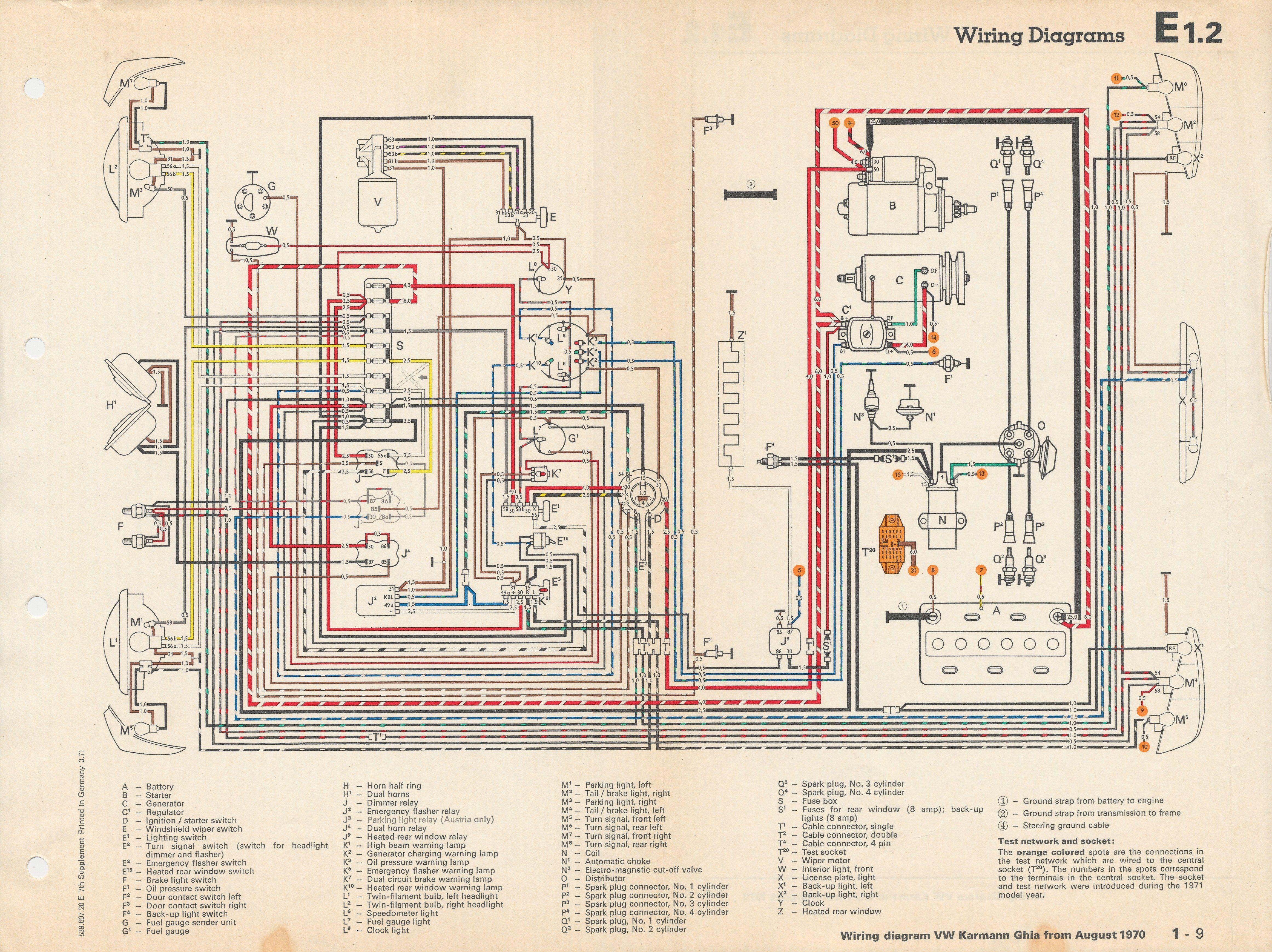 1971 vw karmann ghia wiring diagram thesamba com karmann ghia rh pinterest com 1969 vw beetle [ 4645 x 3475 Pixel ]