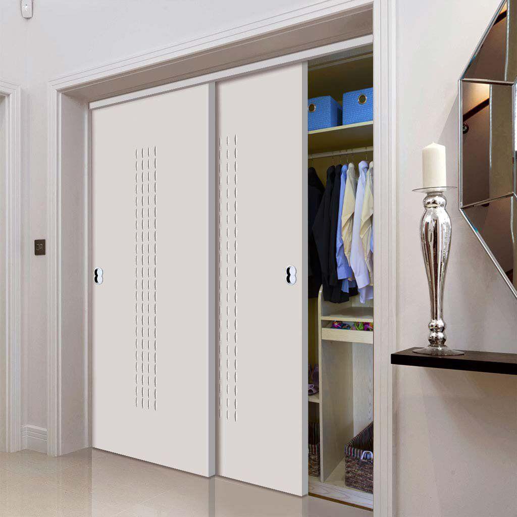 Thruslide Limelight Criterion White Primed Flush 2 Door Wardrobe and Frame Kit & Thruslide Limelight Criterion White Primed Flush 2 Door Wardrobe and ...
