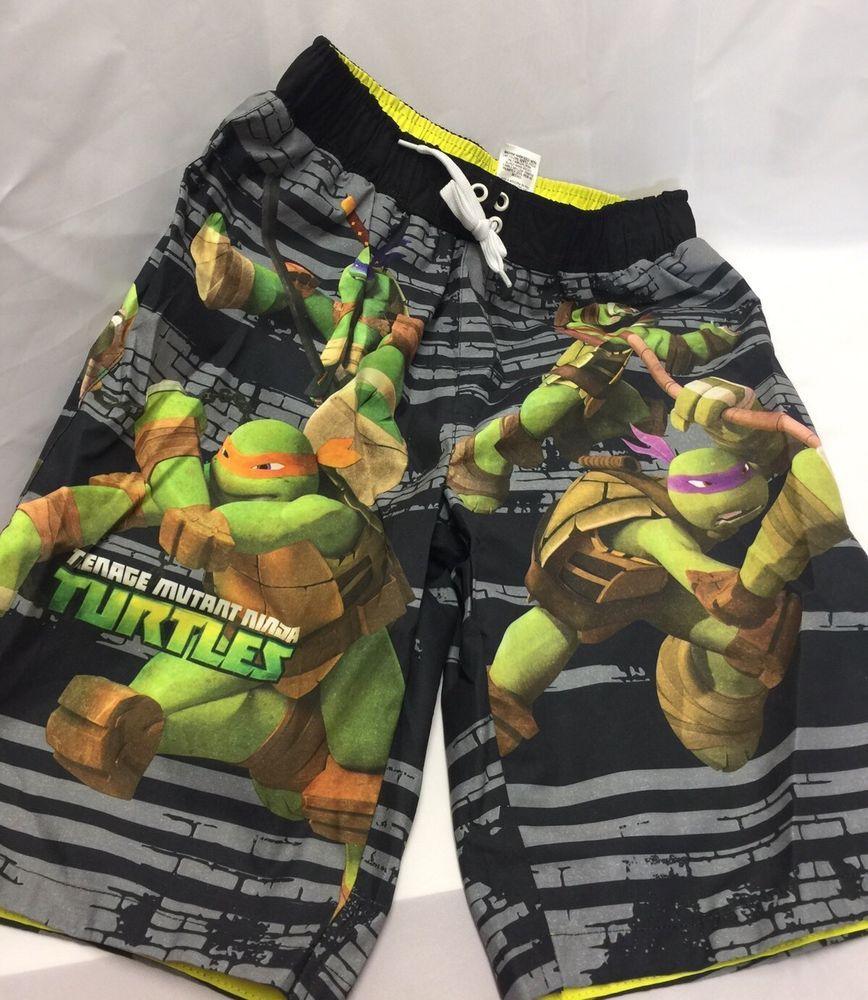 b367f0f89a Boys Swimsuit 10/12 Ninja Turtles Teenage Mutant Surfing Swim Shorts Black  Green #Nickelodeon #SwimShorts