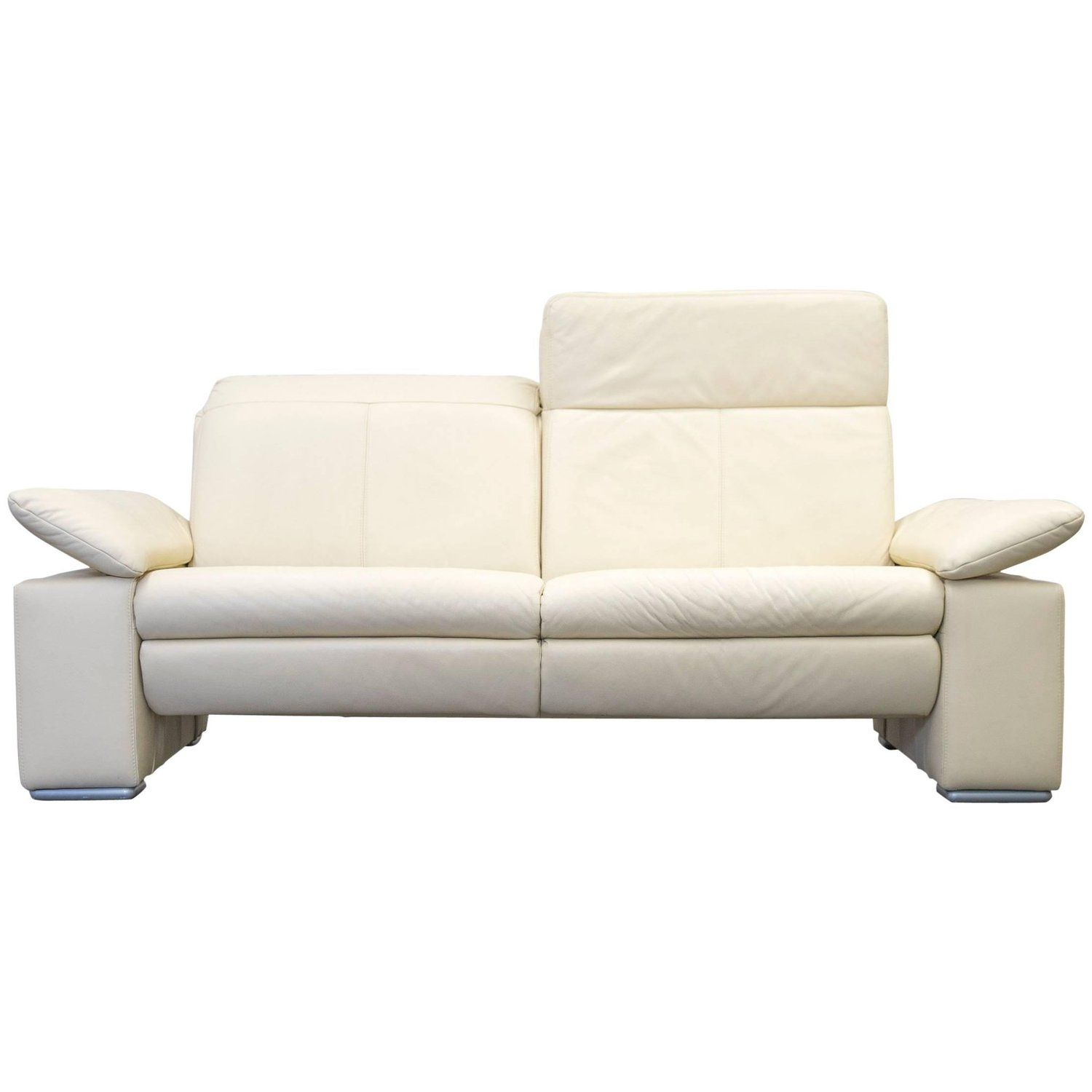 Musterring designer sofa leather beige three seat couch modern