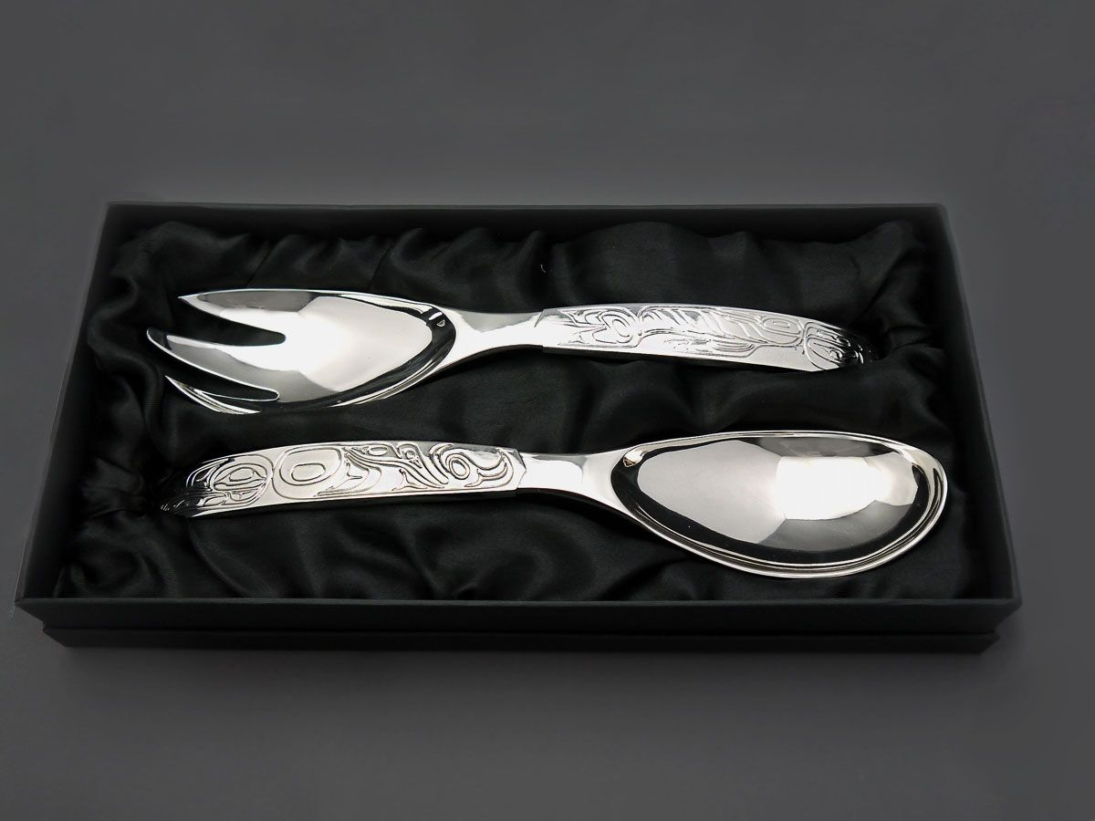 """The MOA Shop: """"Eagle Whale Silver Plated Servers"""" designed by Tsimshian artist Terry Starr"""