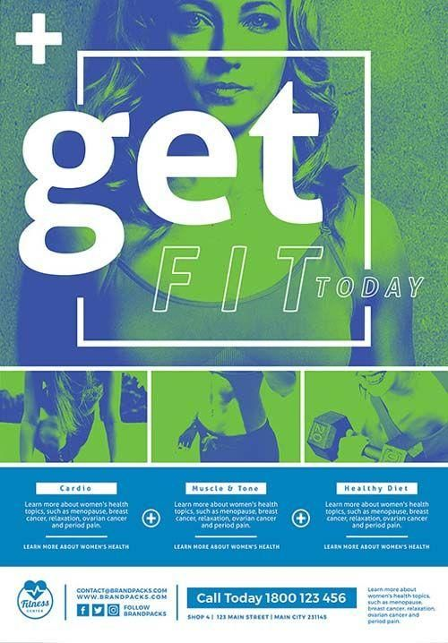 Free Fitness Poster and Flyer Template  - Graphic design - #Design #Fitness #Flyer #FREE #Graphic #P...