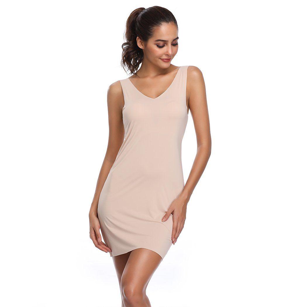de7fb668fc7fe Full Slips for Women Long Body Shaping Cami Slip Seamless Slimming Deep V  Slip Under Dresses Beige XXLarge XXXLarge -- More info could be found at  the image ...