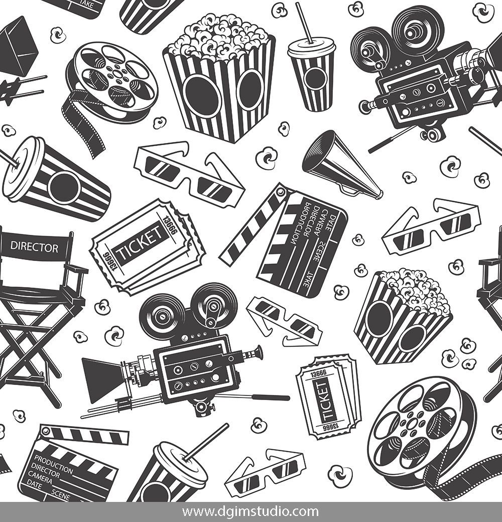 Old School Style Cinema Seamless Pattern With Film Reel Movie Camera Megaphone Tickets 3d Glasses Soda Cu Seamless Patterns Monochrome Pattern Kids Prints