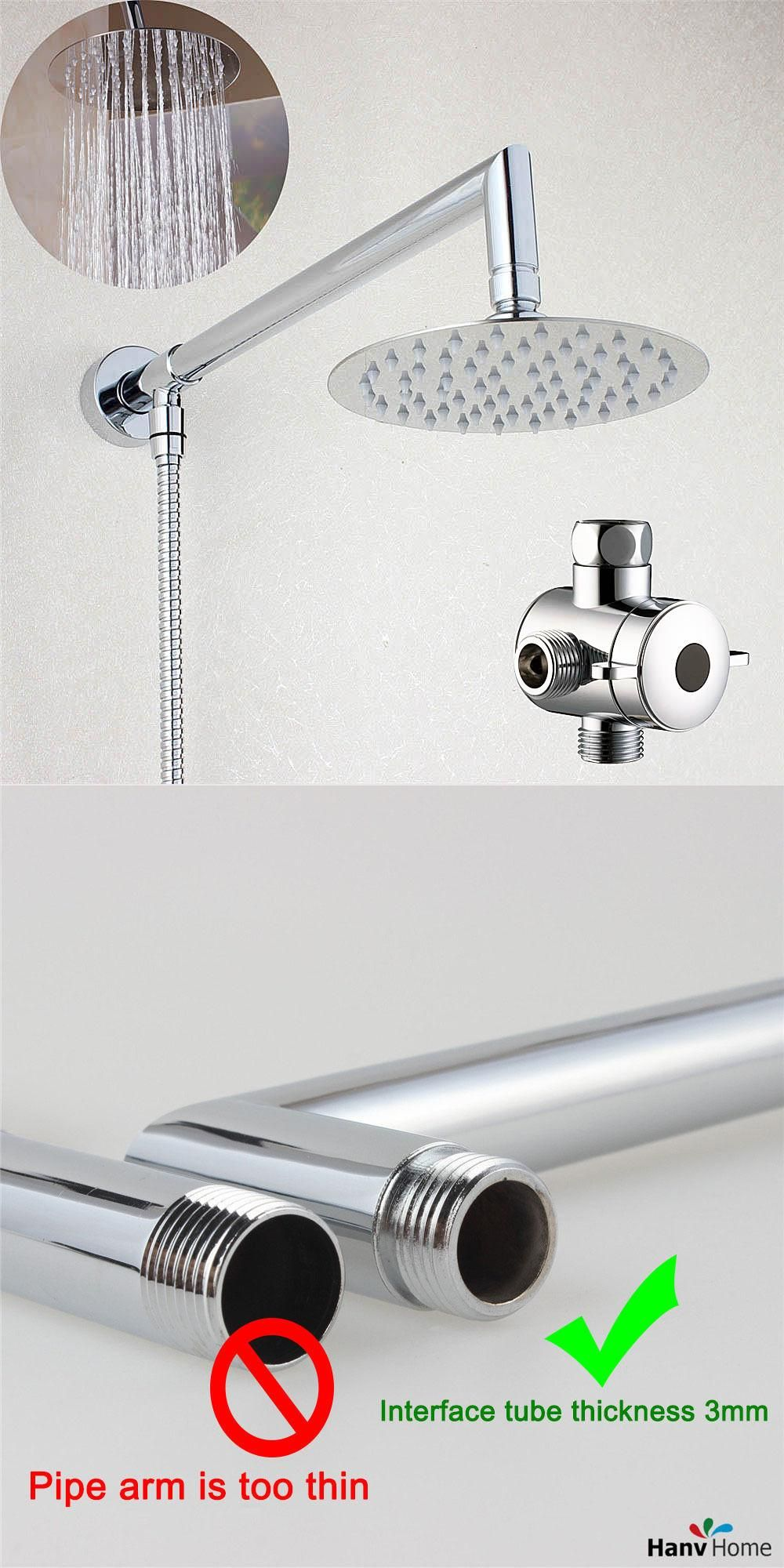 Visit to Buy] Bathroom 6 or 8 inch Round Rain Shower Head with Brass ...