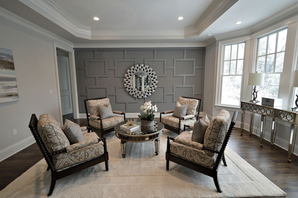 Traditional living room with shiloh spool chair crown for Crown molding ideas for living room