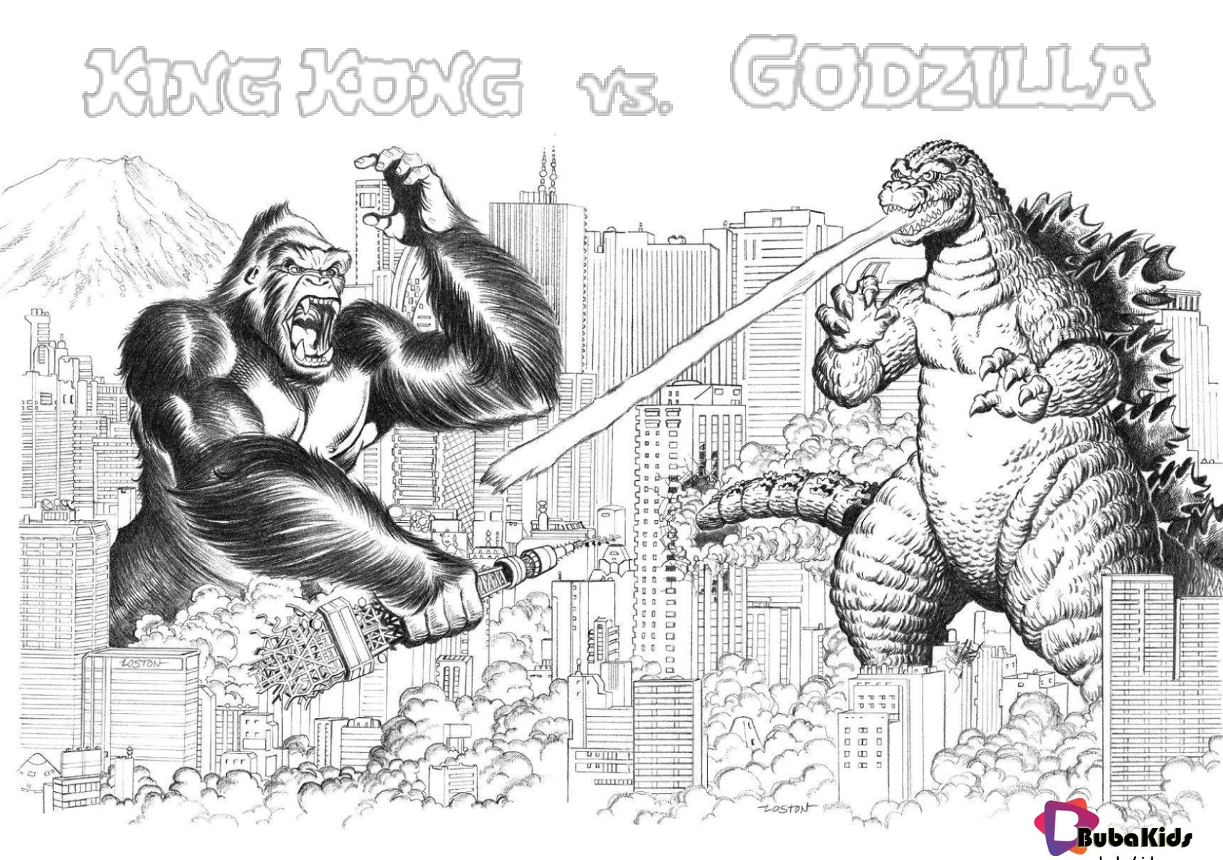 King Kong Vs Godzilla Free And Printable Coloring Page Godzilla King Kong Godzilla Kingkong Cartoo King Kong Vs Godzilla Cartoon Coloring Pages King Kong