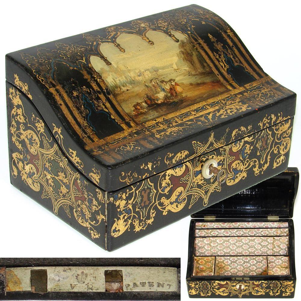 Decorative Stationery Boxes Antique Victorian Era Papier Mache Stationery Box Casket Gothic
