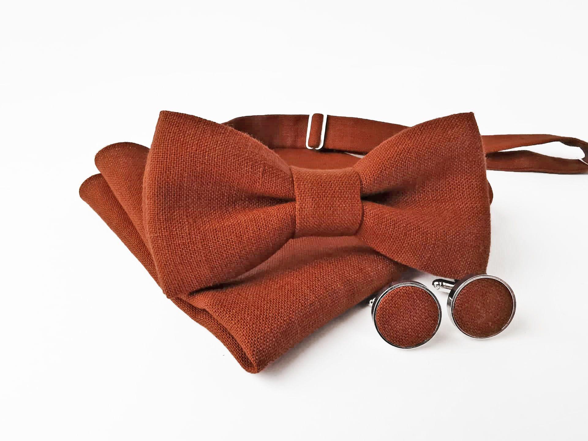 Burnt orange linen necktie for man  Handmade groomsmen ties for wedding