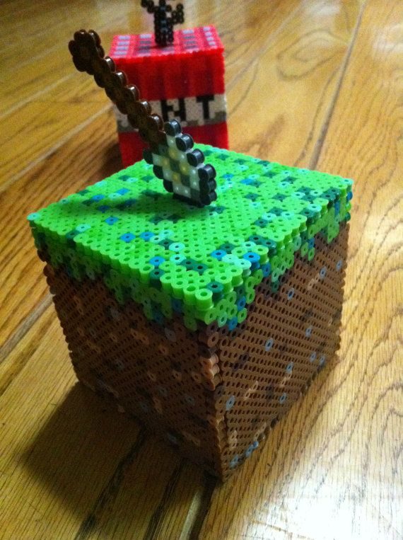 3D Minecraft Box Dirt Cube Topped with Shovel by aricaerica