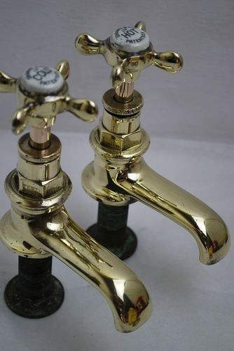 Basin bathroom taps antique victorian old brass taps reclaimed ...